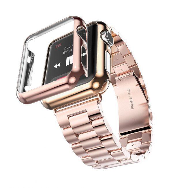 Luxusný ochranný kryt pre Apple Watch 38mm, Series 2 v ružovej farbe