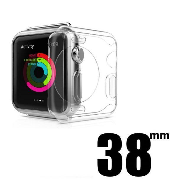 Ochranný transparentný kryt pre Apple Watch 38mm, Series 2. Kryt zanecháva originálny vzhľad hodiniek a navyše moc nezvyšuje ich rozmer.