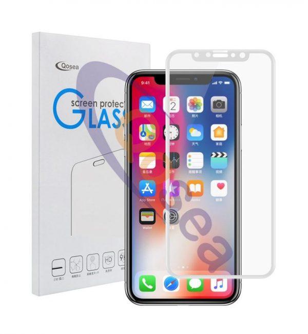 4D ochranné sklo pre iPhone X v bielej farbe. Prekrýva celú prednú časť iPhone, tým chráni telefón pred poškodením a zachová jeho pôvodný stav