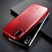 Silikónový kryt pre iPhone X, transparentný červený