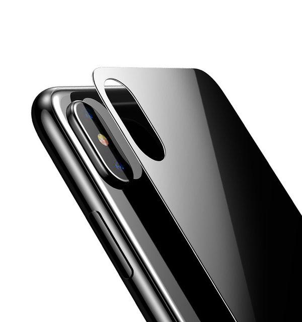 Tvrdené ochranné sklo na zadnú časť iPhonu X - čierna farba