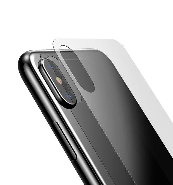 Tvrdené ochranné sklo na zadnú časť iPhonu X. Prekrýva zadnú časť iPhonu