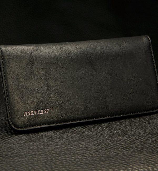 Peňaženkové púzdro JISONCASE pre pre všetky modely iPhonov z pravej kože, čierna farba