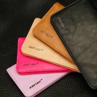 Peňaženkové púzdro JISONCASE pre pre všetky modely iPhonov z pravej kože, hnedá farba od prestížnej firmy JISONCASE. Púzdro je vyrobené z pravej kože