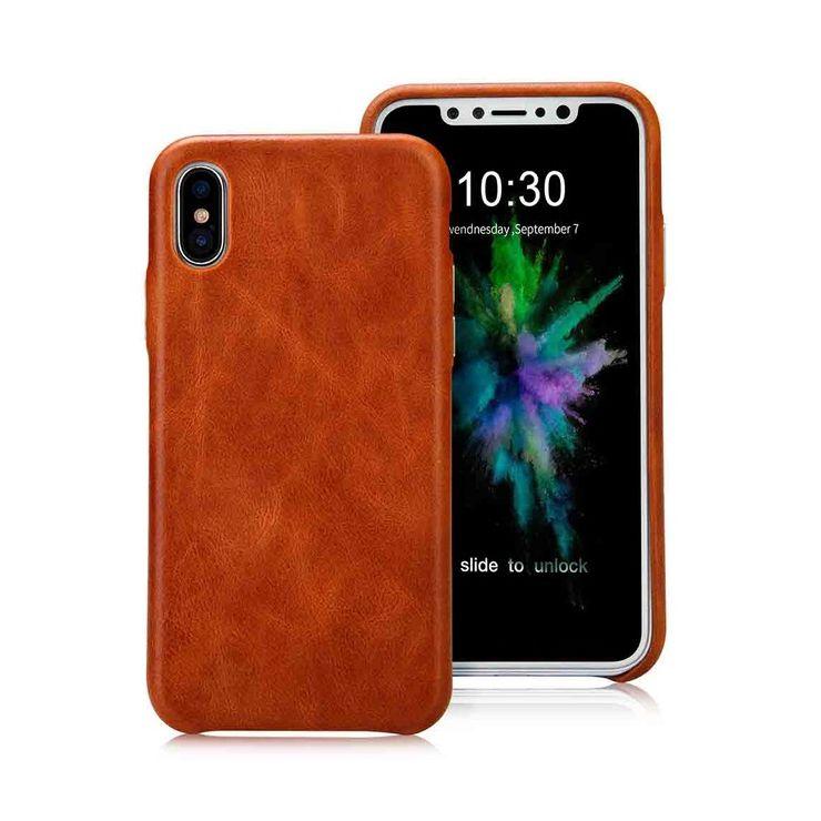 Prémiový obal na iPhone X z prírodnej kože v hnedej farbe. Vyrobený z kvalitnej prémiovej prírodnej kože a ručne spracované hrany (1)