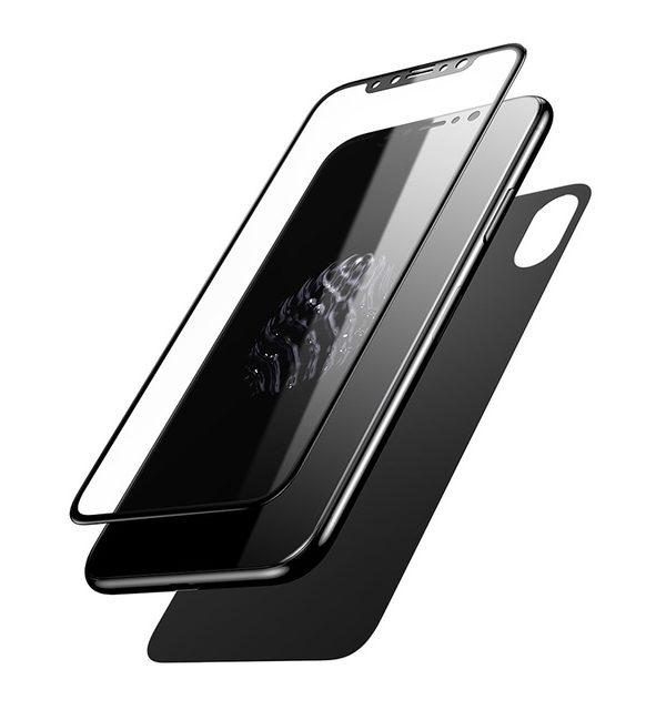 3D Tvrdené ochranné sklo na zadnú + prednú časť iPhonu X - čierna farba. Prekrýva zadnú a prednú časť iPhonu, tým chráni telefón pred poškodením