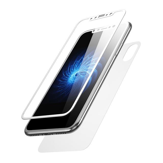 3D Tvrdené ochranné sklo na zadnú + prednú časť iPhonu X - biela farba