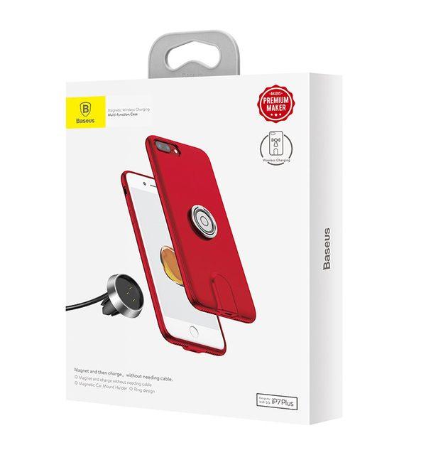 QI bezdrótová nabíjačka do auta BASEUS na iPhone 7 a 8, červená farba