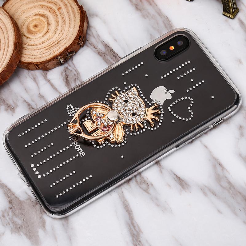 Luxusný Silikónový kryt s mačičkou a kryštálikmi pre všetky typy iPhonov