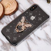 Luxusný Silikónový kryt s motýľom a kryštálikmi pre všetky typy iPhonov