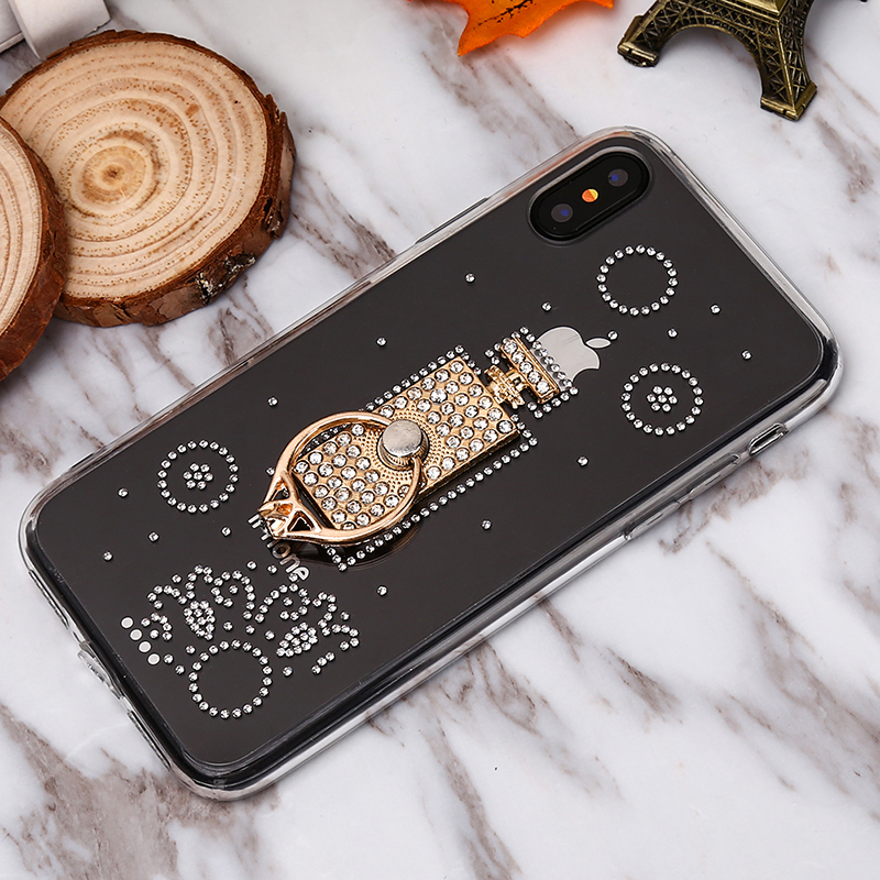 Luxusný Silikónový kryt s parfúmom a kryštálikmi pre všetky typy iPhonov
