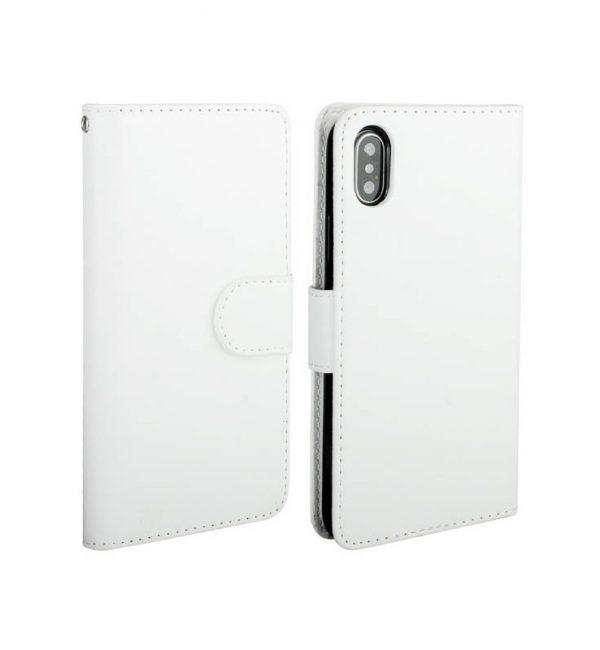 Magnetický univerzálny obal pre iPhone X z kože v bielej farbe