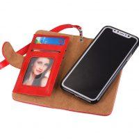 Peňaženka a magnetický obal na iPhone X z kože v červenej farbe (2)