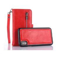 Peňaženka a magnetický obal na iPhone X z kože v červenej farbe