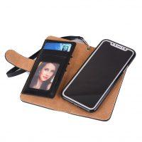 Peňaženka a magnetický obal na iPhone X z kože v čiernej farbe. Púzdro je vyrobené z kože. Púzdro poskytuje dokonalé zapadnutie iPhonu X (1)