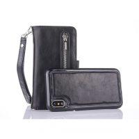 Peňaženka a magnetický obal na iPhone X z kože v čiernej farbe. Púzdro je vyrobené z kože. Púzdro poskytuje dokonalé zapadnutie iPhonu X (4)