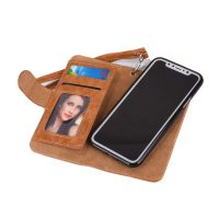 Peňaženka a magnetický obal na iPhone X z kože v hnedej farbe. Púzdro je vyrobené z kože. Púzdro poskytuje dokonalé zapadnutie iPhonu X (1)