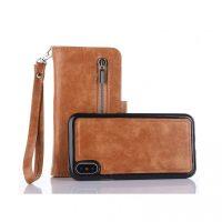 Peňaženka a magnetický obal na iPhone X z kože v hnedej farbe. Púzdro je vyrobené z kože. Púzdro poskytuje dokonalé zapadnutie iPhonu X (4)