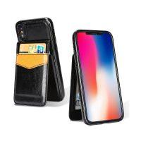 Retro kožený obal a púzdro na karty pre iPhone X v čiernej farbe. Púzdro je vyrobené z kvalitnej kože. Púzdro poskytuje dokonalé zapadnutie Vášho X (1)