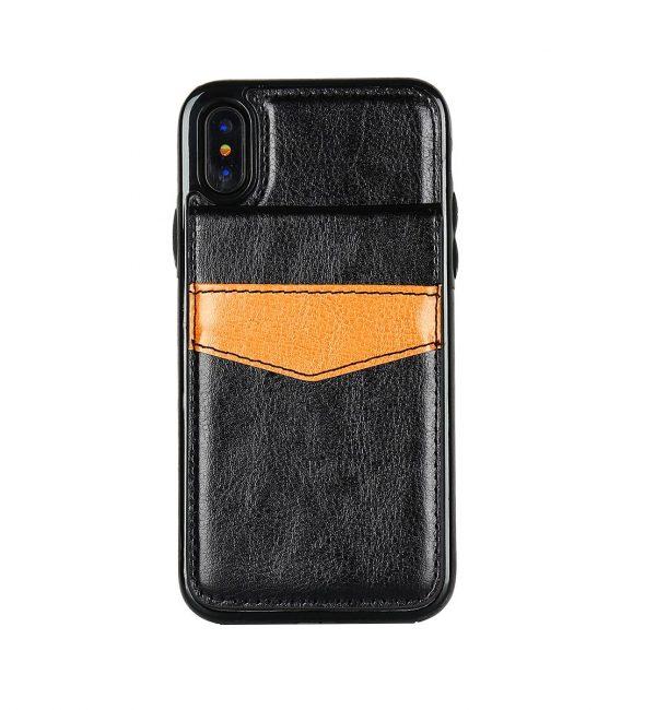 Retro kožený obal a púzdro na karty pre iPhone X v čiernej farbe. Púzdro je vyrobené z kvalitnej kože. Púzdro poskytuje dokonalé zapadnutie Vášho X
