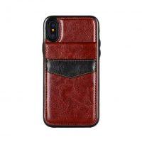 Retro kožený obal a púzdro na karty pre iPhone X v hnedej farbe (2)