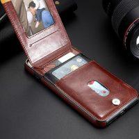 Retro kožený obal a púzdro na karty pre iPhone X v hnedej farbe (3)