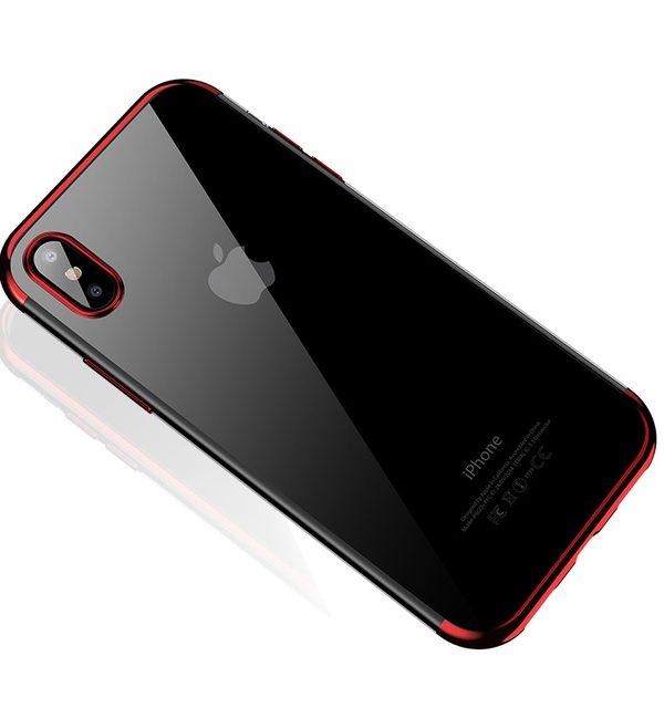 Silikónový kryt pre iPhone X s unikátnymi červenými okrajmi.