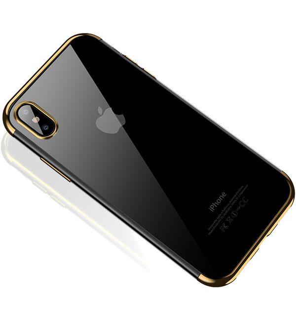 Silikónový kryt pre iPhone X so zlatým okrajom
