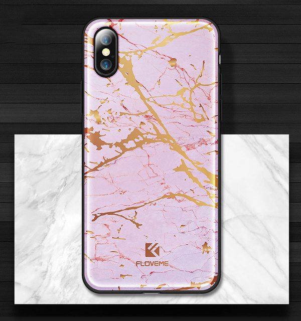 Silikónový kryt pre iPhone X vzorovaný v ružovej farbe