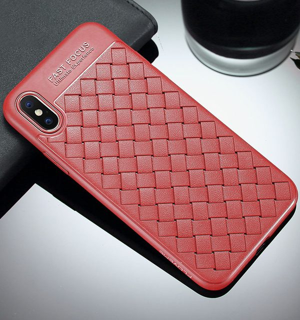 Silikónový pletený kryt Woven pre iPhone X v červenej farbe