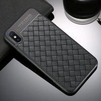 Silikónový pletený kryt Woven pre iPhone X v čiernej farbe