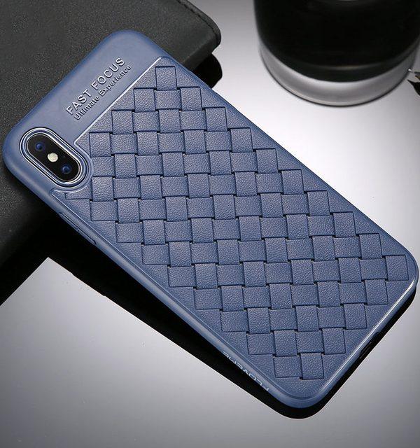Silikónový pletený kryt Woven pre iPhone X v modrej farbe