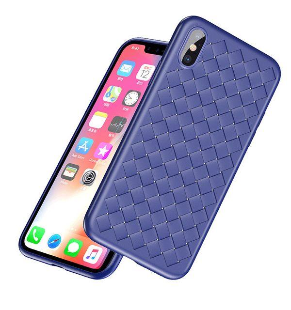 Silikónový pletený kryt pre iPhone X v modrej farbe