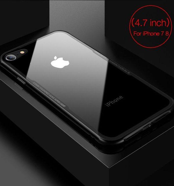 Sklenený štýlový obal pre iPhone 7 a 8 v čiernej farbe