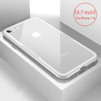 Sklenený štýlový obal pre iPhone 7 a 8 v bielej farbe