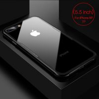 Sklenený štýlový obal pre iPhone 7Plus a 8Plus v čiernej farbe. Obal tvorí silikónový bumper spojený s tvrdeným sklom, ktoré je odolné voči poškriabaniu