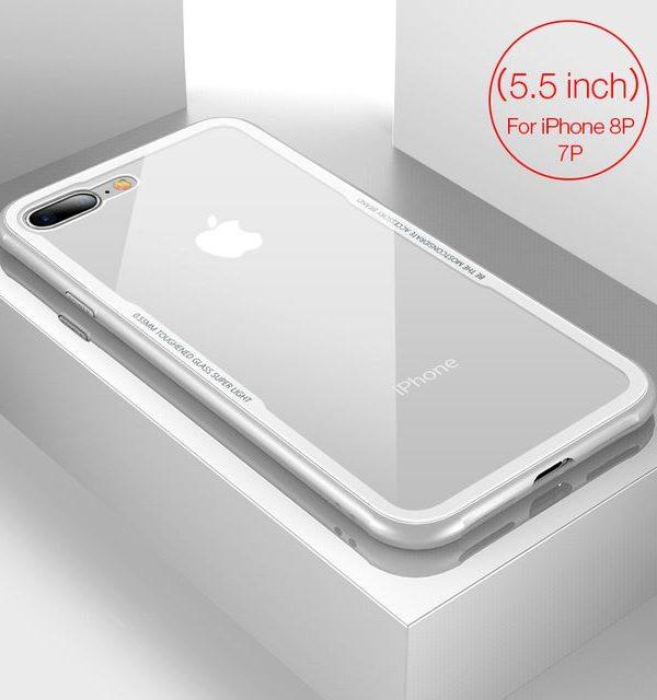 Sklenený štýlový obal pre iPhone 7Plus a 8Plus v bielej farbeSklenený štýlový obal pre iPhone 7Plus a 8Plus v bielej farbe