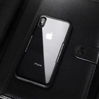 Sklenený štýlový obal pre iPhone X v čiernej farbe