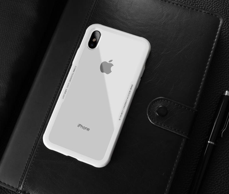 Sklenený štýlový obal pre iPhone X v bielej farbe