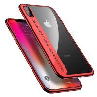 Úžasný Silikónový transparentný kryt pre iPhone X s červeným okrajom