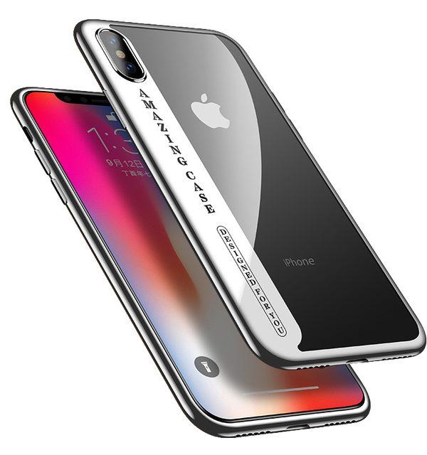 Úžasný Silikónový transparentný kryt pre iPhone X so strieborným okrajom