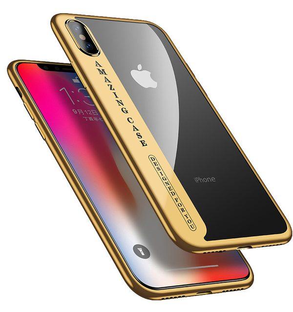 Úžasný Silikónový transparentný kryt pre iPhone X so zlatým okrajom