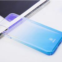 Unikátny tvrdý kryt pre iPhone X, transparentný modrý.