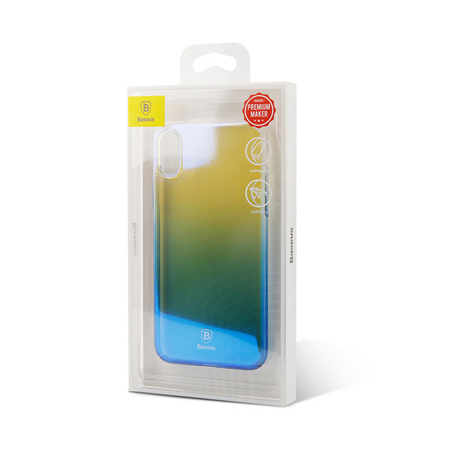 Unikátny tvrdý kryt pre iPhone X, transparentný modrý