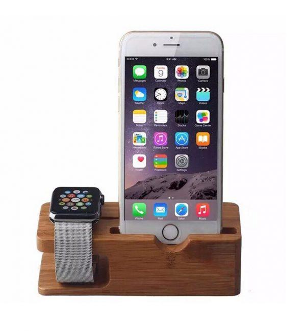 Univerzálna dokovacia stanica na Apple Watch a iPhone v tmavej farbe