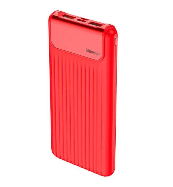 BASEUS Power Bank 10000mAh, externá batéria, LCD displej, červená farba.