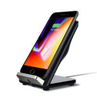 Bezdrôtová Qi nabíjačka pre iPhone v čiernej farbe, stojan.