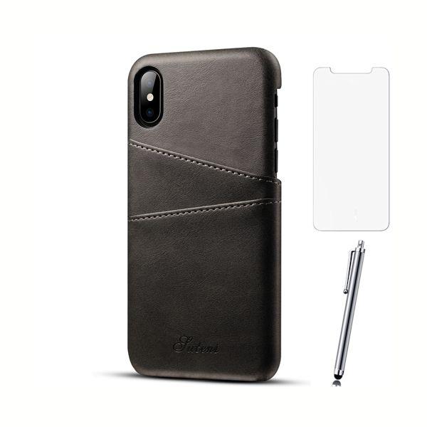 Kožený-kryt-na-kreditnú-kartu-pre-iPhone-X-so-stylusom-a-ochranným-sklom-čierna-farba