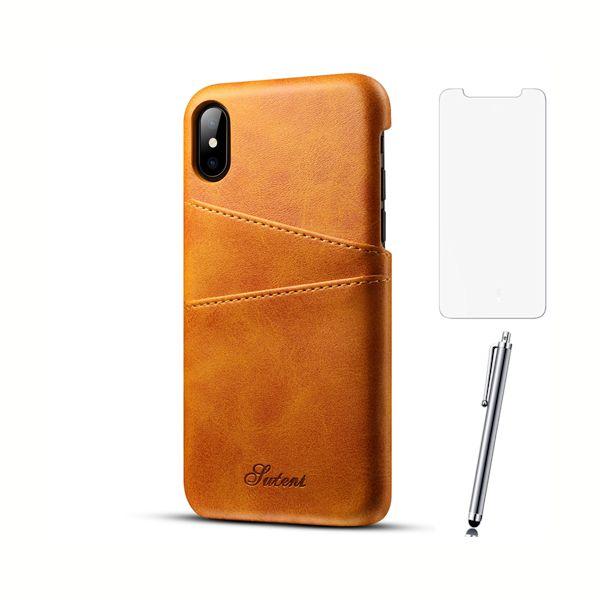 Kožený-kryt-na-kreditnú-kartu-pre-iPhone-X-so-stylusom-a-ochranným-sklom-khaki-farba