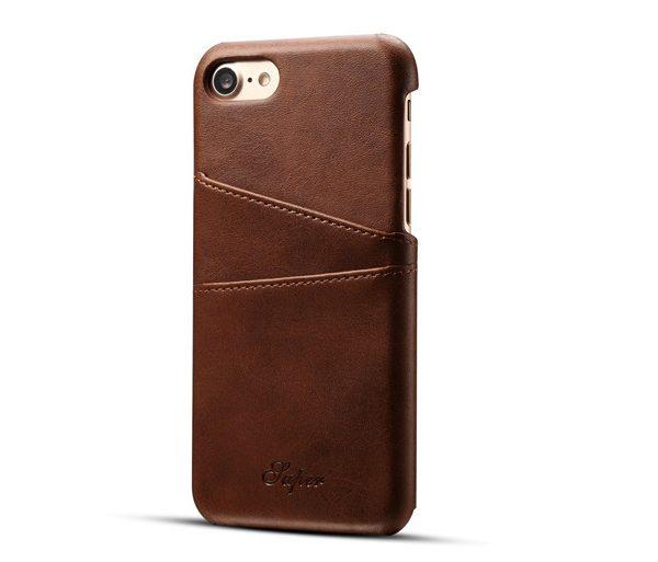 Kryt na kreditnú alebo debetnú kartu AOKIN pre iPhone 8 v hnedej farbe